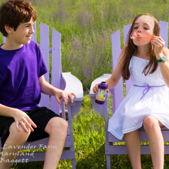 A boy and a girl sitting on chairs in a lavender field blowing bubbles